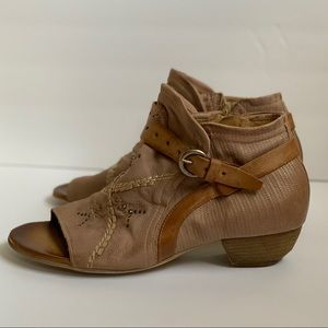 Miz Mooz brown leather open toe boots shoes 11